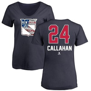 Ryan Callahan New York Rangers Women's Navy Name and Number Banner Wave V-Neck T-Shirt -