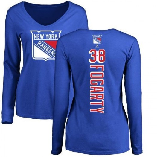 Steven Fogarty New York Rangers Women's Royal Backer Long Sleeve T-Shirt -
